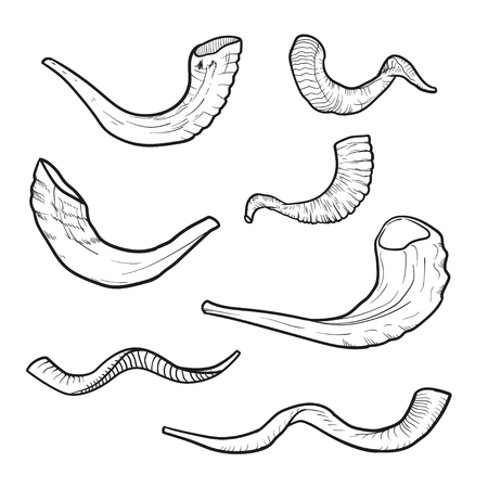 yom kipur: Set of contour doodle Jewish horn Rosh Hashanah. history of the tradition of Israel