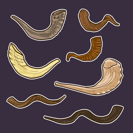 hashanah: Set of doodle Jewish horn Rosh Hashanah. history of the tradition of Israel Illustration