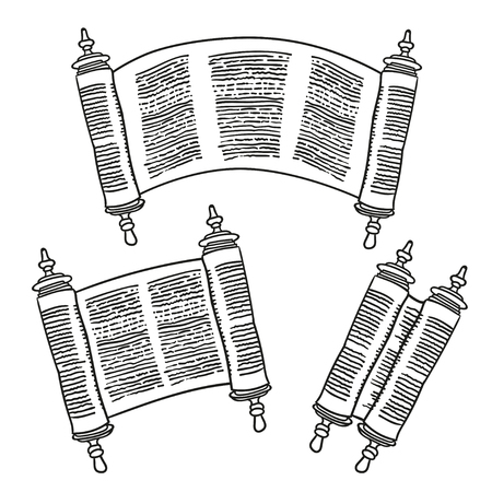 manuscript: Vintage Roll of antique blank manuscript over white. Ancient scroll of the Law. contour doodle style. Black and white Illustration