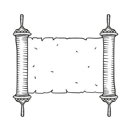 talmud: Vintage Roll of antique blank manuscript over white. Ancient scroll of the Law. contour doodle style Illustration