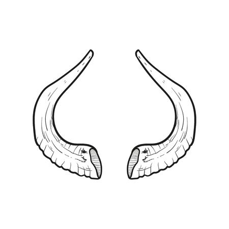 yom kipur: Black doodle contour of horns isolated on white. Stock Photo