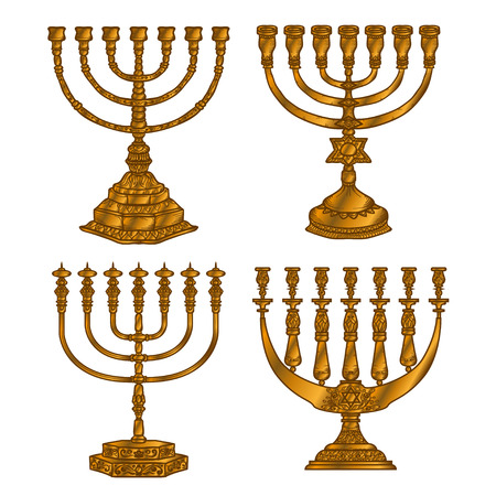 Jewish religious symbol menorah isolated on white background. Stock Photo