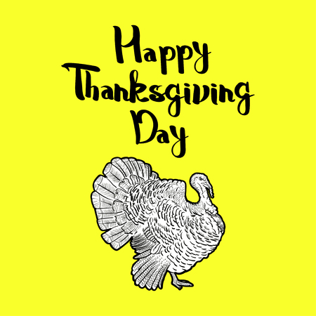 forgiveness: outline cartoon turkey with bright yellow background.