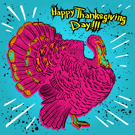 forgiveness: Happy Thanksgiving Day, outline cartoon turkey with bright blue background. Illustration