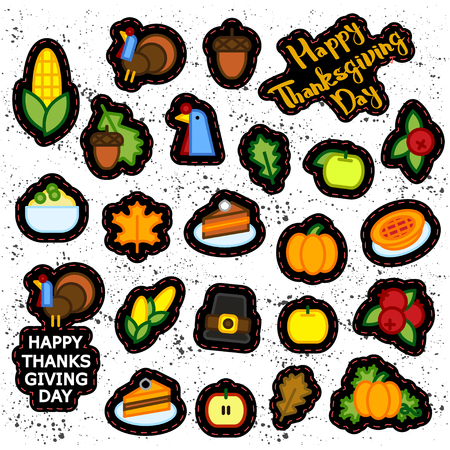 Set of abstract thanksgiving day icon. holiday symbols. Illustration