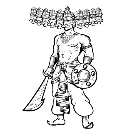 ravana: India God with ten goals. Ravana holding a sword and shield.