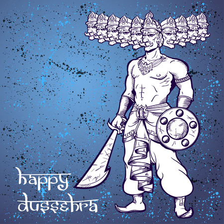 ravana: Text and Ravana. Postcard for holiday in India. Happy Dussehra. Illustration