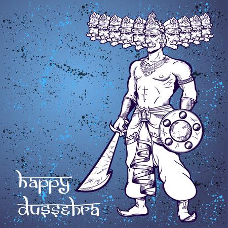 ravana: Text and Ravana. Postcard for holiday in India. Happy Dussehra. Illustration
