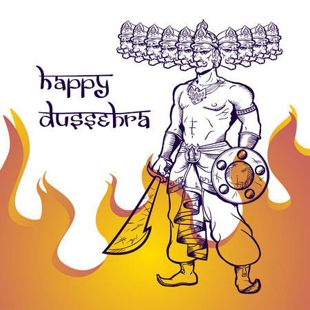 ravana: Text and Ravana in fire. Postcard for holiday in India. Happy Dussehra.