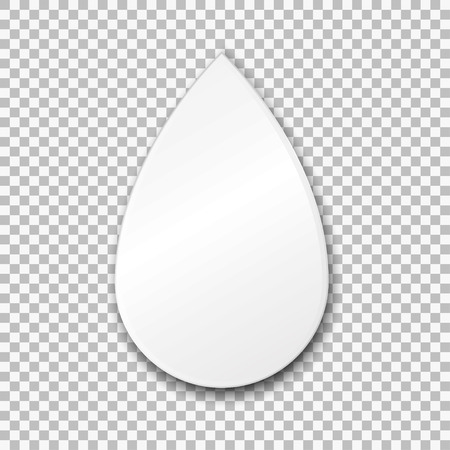 Empty white drop paper plate. Vector Illustration on transparent background