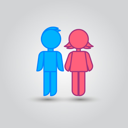 Icon blue stick figure man male and pink women female.