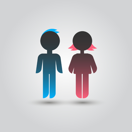 female pink: Icon blue stick figure man male and pink women female.