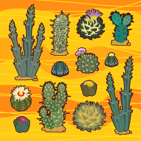 Simmple Cactus collection isolated on orange background.