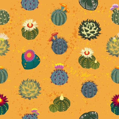 Simmple seamless pattern Cactus on orange background.