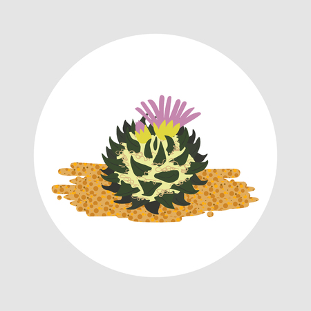Simmple flat Cactus isolated on white background. Illustration