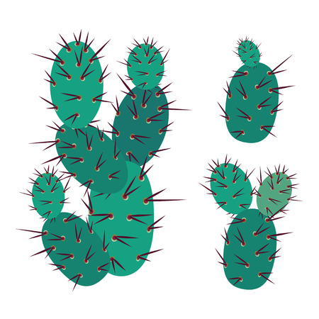 prickly: Simmple Cactus collection isolated on white background.