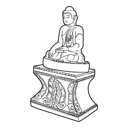 Buddha isolated on white. Esoteric vintage illustration. Indian, Buddhism, spiritual art. Hippie tattoo, spirituality, Thai god, yoga zen . Coloring book pages for adults. Illustration