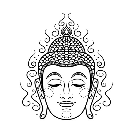 mantra: Buddha face isolated on white. Esoteric vintage illustration. Indian, Buddhism, spiritual art. Hippie tattoo, spirituality, Thai god, yoga zen . Coloring book pages for adults.