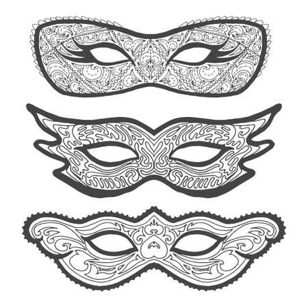 theatre masks: Set of Masquerade outline masks, contour for coloring.