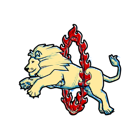 Circus trained wild animals performance isolated on white. lion jumps over the ring in the fire. Retro vintage style.