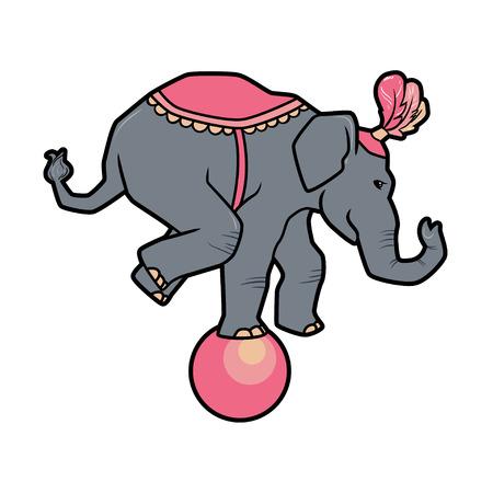 Circus trained wild animals performance isolated on white. elephant balances on the ball Illustration