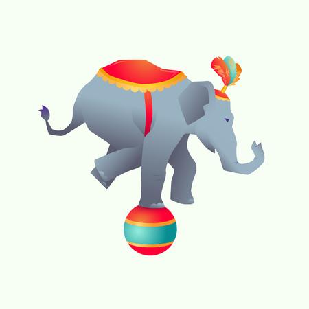 Circus trained wild animals performance isolated Gradient elephant balances on the ball Illustration