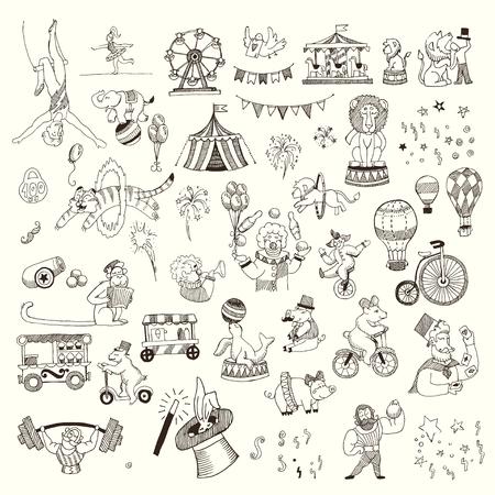 Doodle Set Circus mensen, dieren, elementen geïsoleerd op wit, zwarte contour om in te kleuren Stock Illustratie