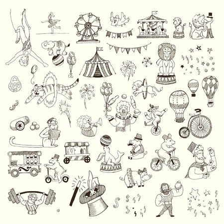Doodle Set of Circus people, animals, elements isolated on white, Black contour for coloring Banco de Imagens - 81558126