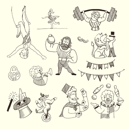 Doodle Set of Circus people isolated on white, Black contour for coloring