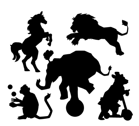 Set of Circus silhouette animals performance isolated on white
