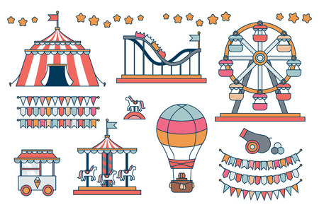 boyish: Set of line icon Circus attraction elements. Illustration