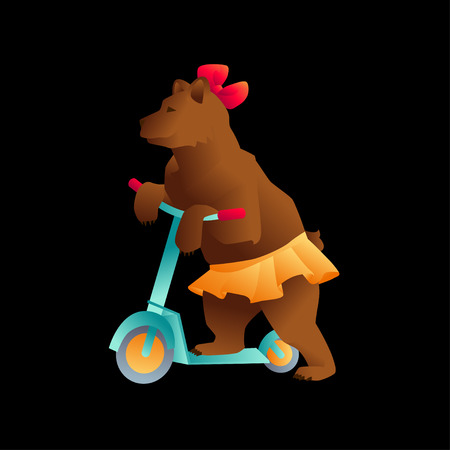 boyish: Circus trained wild animals performance isolated on black. bear on a scooter Illustration