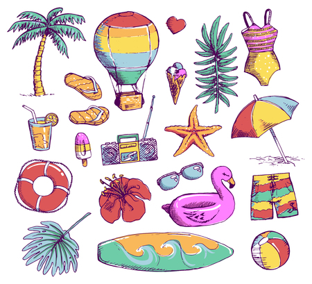 Set of bright Summer doodle sticker, hand draw elements