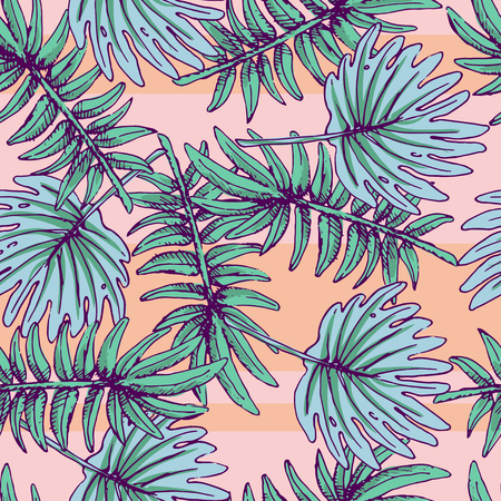 Summer colorful hawaiian seamless pattern with tropical plants for your design