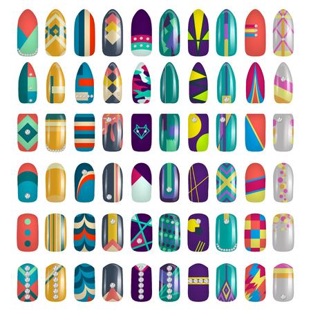 Insieme delle unghie dipinte colorate, manicure e illustrazione di smalto. Archivio Fotografico - 87286074
