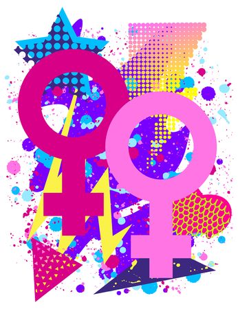 Vector print for t-shirt with bright Pride lgbt rainbow color female lesbian symbol.