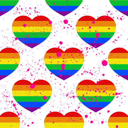 Vector seamless pattern with bright Pride lgbt rainbow color heart Valentines Day retro card  イラスト・ベクター素材