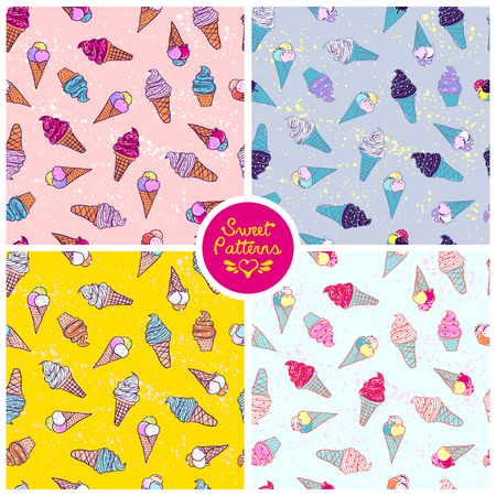 Set of seamless summer pattern with icecream For teenagers Illustration