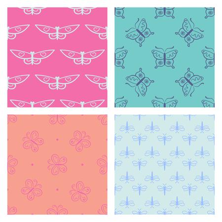 服の抽象的なシームレス パターンのセットです。蝶と創造的な背景は。テキスタイルの面白い壁紙。ファッションのスタイル。カラフルな明るい。