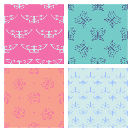 Set of Abstract seamless pattern for  clothes. Creative background with butterfly. Funny wallpaper for textile and fabric. Fashion style. Colorful bright.