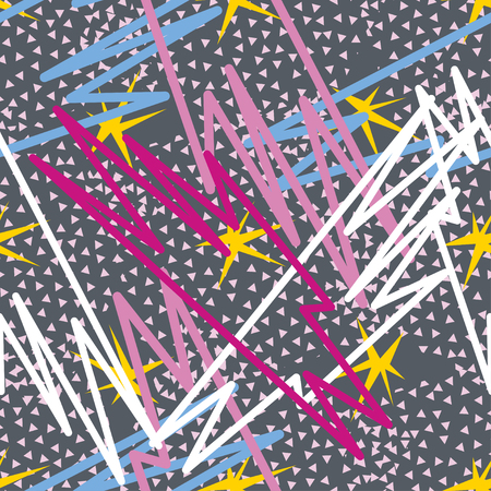 Abstract seamless pattern for girls, boys, clothes. Creative background with dots, geometric figures,stripes inscriptions. Funny wallpaper for textile and fabric. Fashion style. Colorful bright
