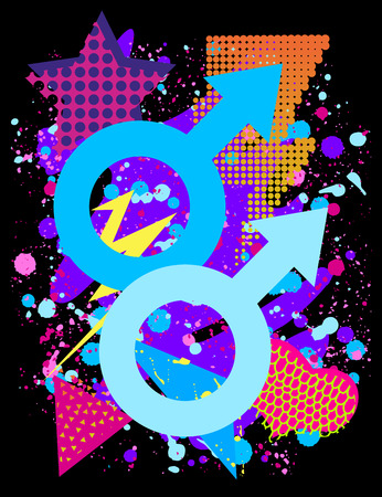 Vector print for tshirt with bright pride lgbt rainbow color male symbol