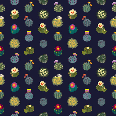 Simple seamless pattern Cactus on blue background