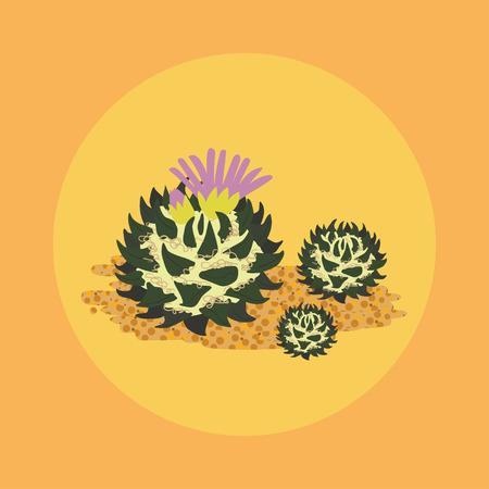 Simple flat Cactus isolated on orange background