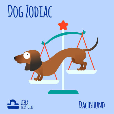 Illustration of a zodiac sign with a funny dog. Dachshund Libra