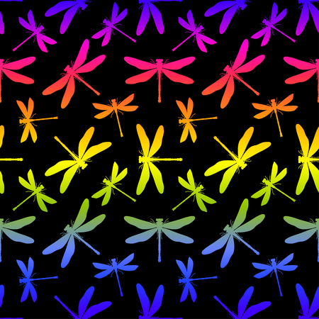 Hand drawn stylized dragonflies seamless pattern for girls, boys, clothes. Creative background with insect. Funny wallpaper for textile and fabric. Fashion style. Colorful bright. Illustration