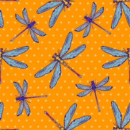 Hand drawn stylized dragonflies seamless pattern for girls, boys, clothes. Creative background with insect. Çizim