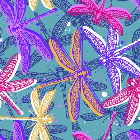 Hand drawn stylized dragonflies Illusztráció