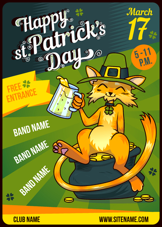 Invitation Card Design Saint Patricks Day Party poster template. Cartoon drinking Cat in green hat on gold. Place for your text Illustration