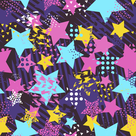 Abstract seamless vector pattern for girls, boys, clothes. Creative background with dots, geometric figures Funny wallpaper for textile and fabric. Fashion style. Colorful bright. Foto de archivo - 96989907